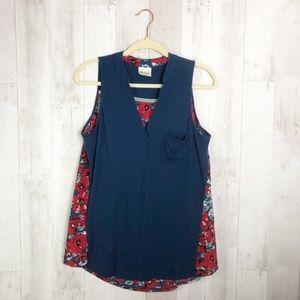 [Anthropologie] Navy Blue Bicoastal Floral Blouse